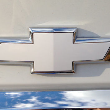 Chevy Bowtie Emblem Overlay Cover Decal, 2 Sheets for both front and back