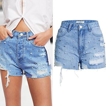 Trending Stylish Women Pearl Hole High Waist Cowboy Shorts