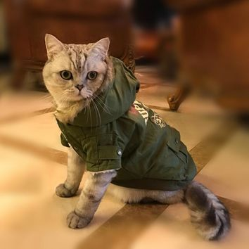 Camo Warm Winter Cat Coat Jacket
