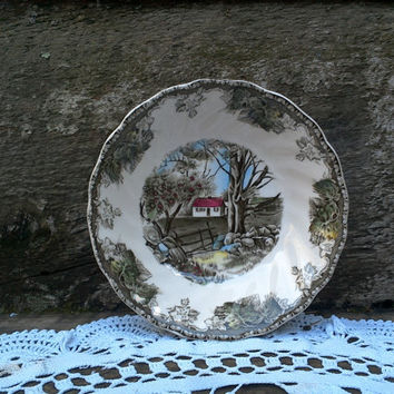 """Vintage Johnson Brothers Friendly Village """"THE STONE WALL"""" , Berry Bowl, Serving, Tableware, Holiday Serving Piece, Made in England"""