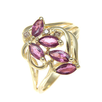 GENUINE MARQUISE CUT RUBY & DIAMOND COCKTAIL RING SOLID 14K YELLOW GOLD