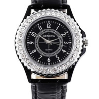 Women Men Unisex Fashion Roman Numeral Diamond Decorated Crocodile Round Dial Quartz Analog Wrist Watches