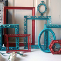 Turquoise and Red Vintage Frames, Set of 8 Ornate Frames, Aqua and Red Decor, Filigree Frames, Nursery Decor, Up Cycled Painted Frames