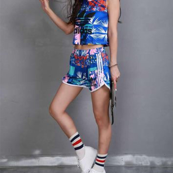"""""""Adidas"""" Women Casual Multicolor Bamboo Leaves Print Sleeveless Vest Shorts Set Two-Piece Sportswear"""