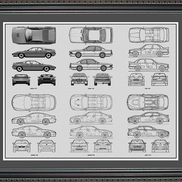 BMW M-Series Blueprint Collection Drawing Art Car Auto Gift BBMWM2024