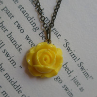 Yellow rose necklace- Tiny rose necklace- Vintage style rose necklace- Yellow necklace- Flower necklace- Dainty rose necklace- Shabby chic