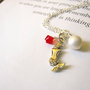 Cute Mermaid Necklace with red swarovski & pearl - Bridesmaids jewelry in Beach Wedding - Nautical gift
