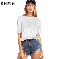 SHEIN Women Casual T-shirts Summer 2017 Ladies Tops White Short Sleeve Crushed Velvet T-shirt Round Neck Woman T shirt Top