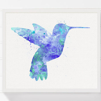 Hummingbird Art Print, Hummingbird Watercolor Painting, Nursery Wall Decor, Kids Room Decor, Childrens Room Decor, Baby Shower Gift, Bird