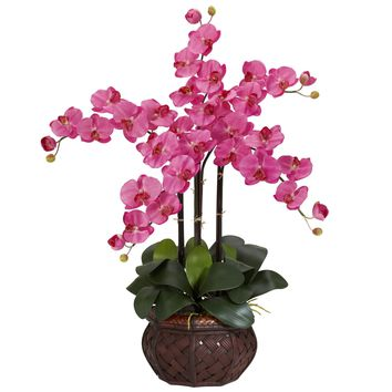 Artificial Flowers -Dark Pink Phalaenopsis With Decorative Vase Flower Arrangement