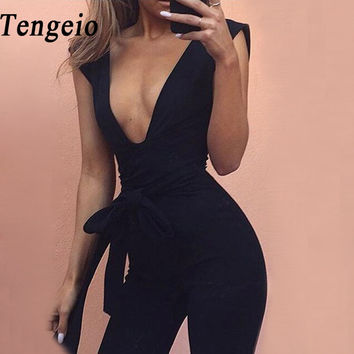 Tengeio sexy bodysuit women rompers summer jumpsuits body femme deep v neck sexy club outfits body long jumpsuit with belt ab30