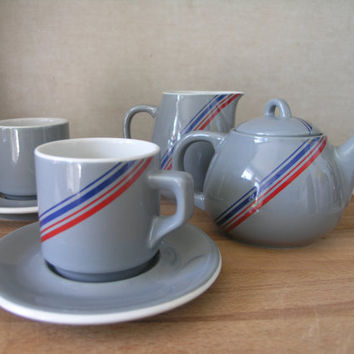 Vintage Retro Ceramic Porcelain Tea Set. Made by ACF Italy. 7 pieces.