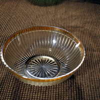 Vintage Glass Bowl-Kitchen-Housewares-Ribbed Design-Gold Trimmed-Retro-