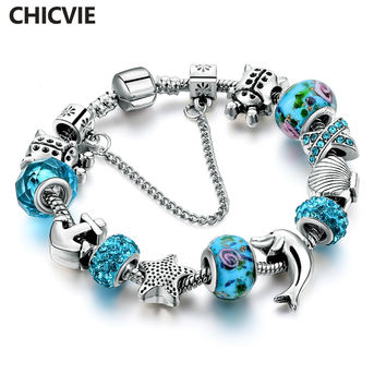CHICVIE New European Silver Blue Crystal Glass Charm Bracelet for Women with Star Anchor Dolphin Beads Christmas Gifts SBR160146