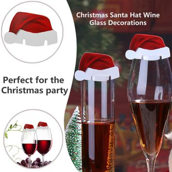 10pcs Santa Claus Hats Paper Wineglass Card Christmas Ornaments Wine Glass Card Xmas Decor Christmas Decorations For Home
