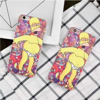 The Simpsons Homer J. Simpson Candy Rubberized Plastic Hard Case For iPhone 5 5s 5c 4s 6 6s Plus 7 Plus Cover Mobile Phone Cases