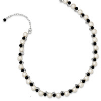 Sterling Silver FW Cultured Button Pearl/Black Crystal Necklace QH1953