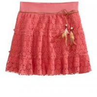 Girls Clothing | Picture Perfect | Crochet Skirt With Feather Belt | ShopJustice.com