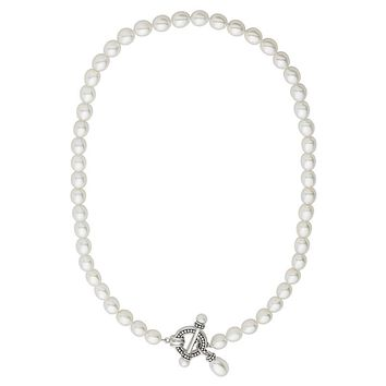 Freshwater by Honora Dyed Freshwater Cultured Pearl Sterling Silver Toggle Necklace (White)