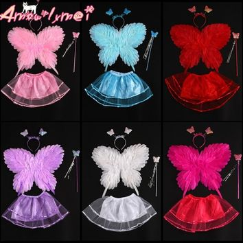 Cute 40*50cm Angel Feather Butterfly Wings Halloween Fancy Dress Cosplay Costume For Kids Girls Party Performance Photography