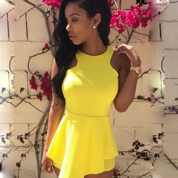Yellow Sleeveless Cut-Out Back Asymmetrical Romper