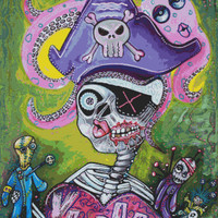 New - Modern Cross Stitch Kit 'Pirate Voodoo' By Laura Barbosa - Day of the Dead Voodoo NeedleCraft Kit