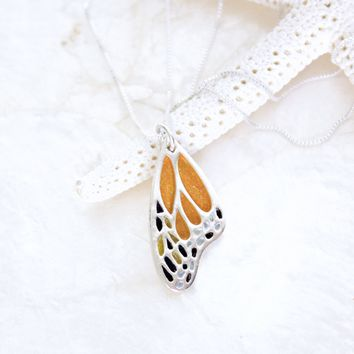 American Monarch Butterfly Wing Necklace