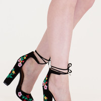 Flower Party Embroidered Chunky Heels GoJane.com