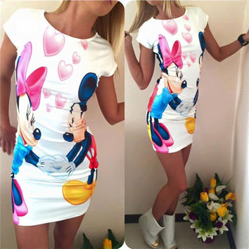 HEYounGIRL new cartoon minie mouse print women party dress summer 2016 cute bow colors mini dresses female vestidos plus size