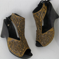 Butterscotch Caramel Tooled Floral Carved Clog Shoe by karenkell