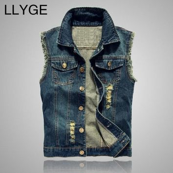 2018 Autumn Mens Denim Vest Coat Ripped Tassel Pocket Sleeveless Jean Jacket Men Casual Cowboy Vest Waistcoat Jackets PLus Size