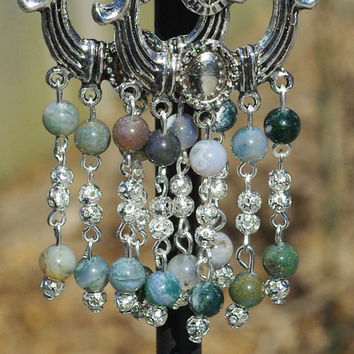 Indian Agate Chandelier Earrings ~ Tibetan Silver ~ Earth Coloured ~ Healing Stones ~ Semi Precious ~ Spring Gift ~ Mother's Day ~ OOAK