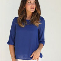 Chiffon Big Bow Three Quarter Blouse- Royal Blue