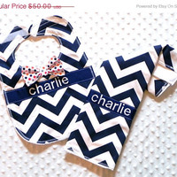 Zulily Sale Personalized Burp Cloth and Bib Set with Dapper Bow Tie - Navy Chevron and Red Orange and Navy Polka Dots