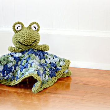 Crocheted Frog Security Blanket - Baby Blanket - Baby Toy - Frog Lovey - Baby Afghan - Crochet Frog Toy