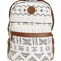 Billabong Campin Trot Black & White Tribal Print Backpack
