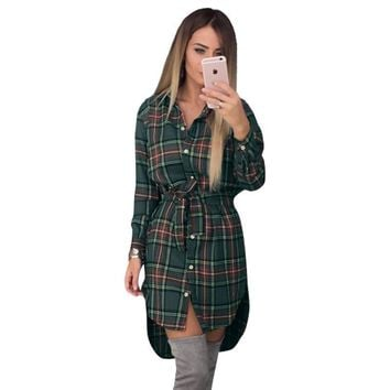 Women Blouses Long Sleeve Plaid Shirts