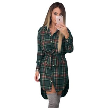 Women Long Sleeve Plaid Shirt Dress