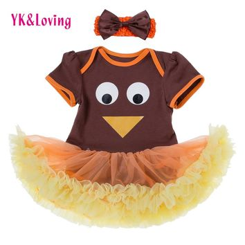Newborn Thanksgiving Outfits Baby Girl Clothes Orange Cute Turkey Tutu Dress 2Pcs 2017 Turkey Infant Toddler Baby Clothing Set