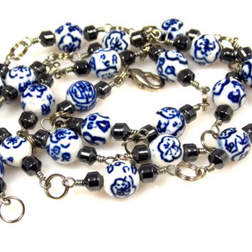 Vintage Hand Painted Porcelain Bead Necklace Blue White Flowers Glass Jewelry