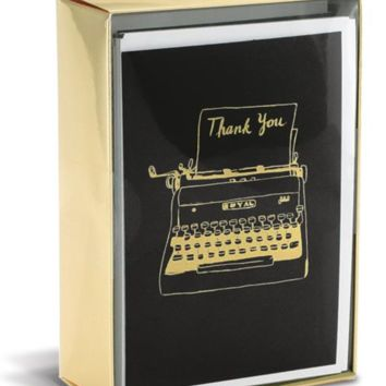 Typewriter Thank You Cards in Black and Gold