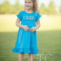 Girls Blue Ruffle dress with time - Monogrammed Boutique Dress