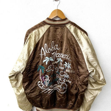 CRAZY SALE 25% SUKAJAN Japan Yokosuka Aloha Hawaii Vintage 90's Tokyo Embroidery Souvenir Brown Gold Satin Jacket L