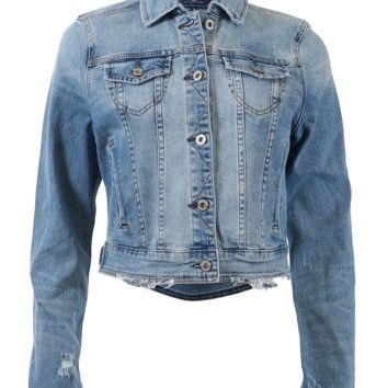 Destroyed Crop Length Denim Jacket