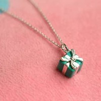 Tiffany fashion trend 925 sterling silver Christmas gift box necklace
