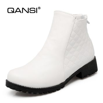 QANSI Snow Boots Women Winter Snow Boots Fur Square Heel Ankle Boots For Women Warm Winter Zipper Shoes Size 34-43