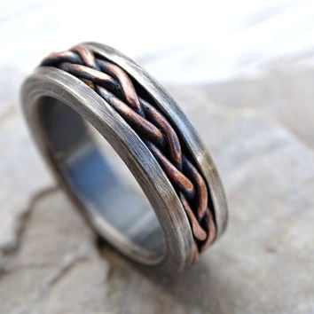 rustic braided ring silver copper, cool mens ring two tone, unique wedding band silver, mens eternity ring mixed metal ring anniversary gift
