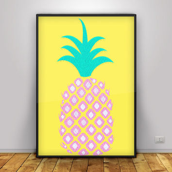 Pineapple Print, Tropical Wall Art, Pineapple printable, pineapple wall decor, Pineapple Art, Pineapple gallery wall, Pink, Summer prints