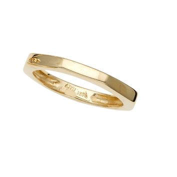 14k Yellow Gold Pyramid Womens Band Ring, Size 7