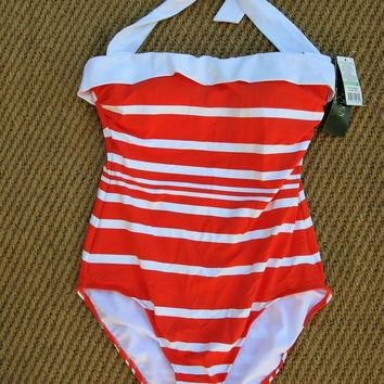 Lauren Ralph Lauren Kaylee Bel Air Swimsuit 8 NWT